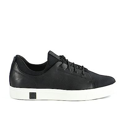 Timberland 男款黑色全粒面皮革綁帶運動鞋 | A1OGI001