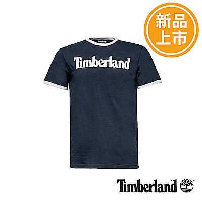 Timberland 男款藍黑色文字LOGO短袖T恤