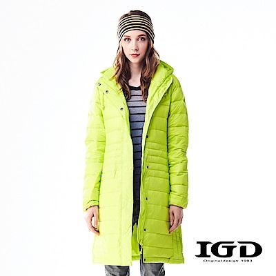 IGD英格麗 90%輕量保暖修身長版羽绒外套-螢光黃