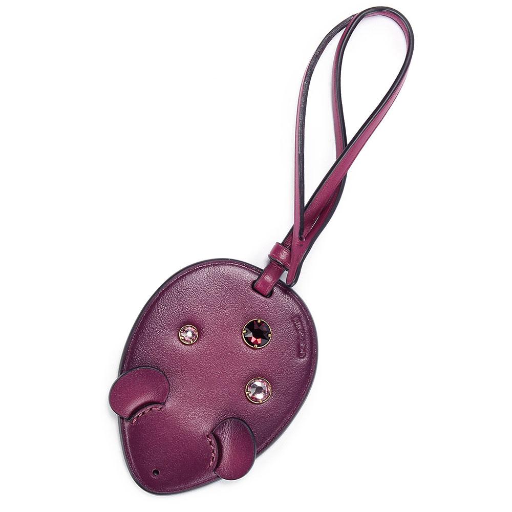COACH 可愛小老鼠造型皮革水鑽掛飾-莓紫色