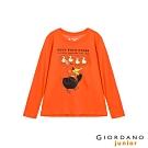 GIORDANO 童裝童趣塗鴉風印花長袖T恤-23 錦鋰橙