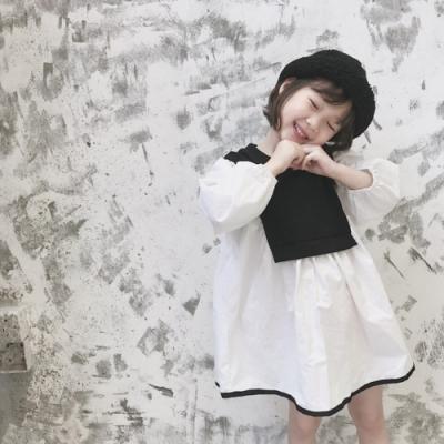 小衣衫童裝 中小女童黑白拼色長袖娃娃裙洋裝1080911