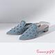 Grace gift X Ann-聯名鑽釦造型尖頭穆勒鞋 牛仔布 product thumbnail 1