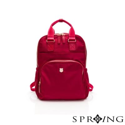SPRING-未來質感系列尼龍手提兩用後背包-寶石紅