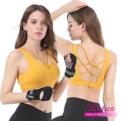 運動內衣 交錯線條美胸焦點無鋼圈內衣-芥黃 LOTUS