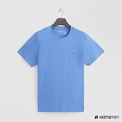 Hang Ten - 男裝 - 有機棉-圓領純色T恤 - 淺藍