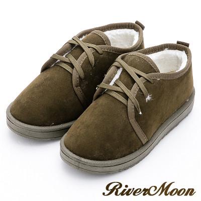 River&Moon雪靴-暖呼呼鋪毛俏麗綁帶Q軟底短靴-墨綠