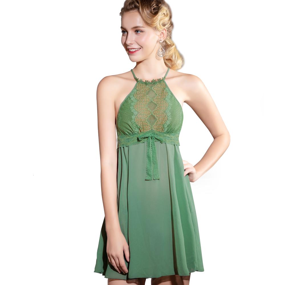思薇爾 波光曼舞系列連身蕾絲性感小夜衣(雨林綠)