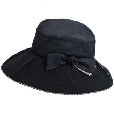 DAKS 日本製抗UV科技纖維格紋滾邊大蝴蝶結造型遮陽帽(黑色)