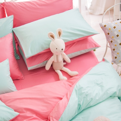 OLIVIA  湖綠 桃粉 標準雙人床包美式枕套三件組 200織精梳純棉 台灣製
