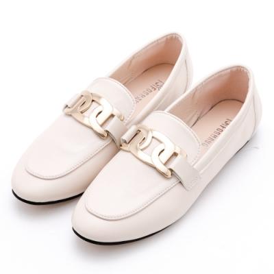 River&Moon小皮鞋 大金飾紳士樂福鞋 米