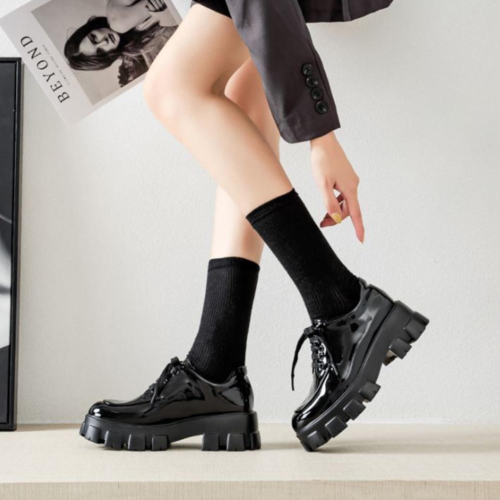 LN 休閒英倫風厚底漆皮單鞋-2款