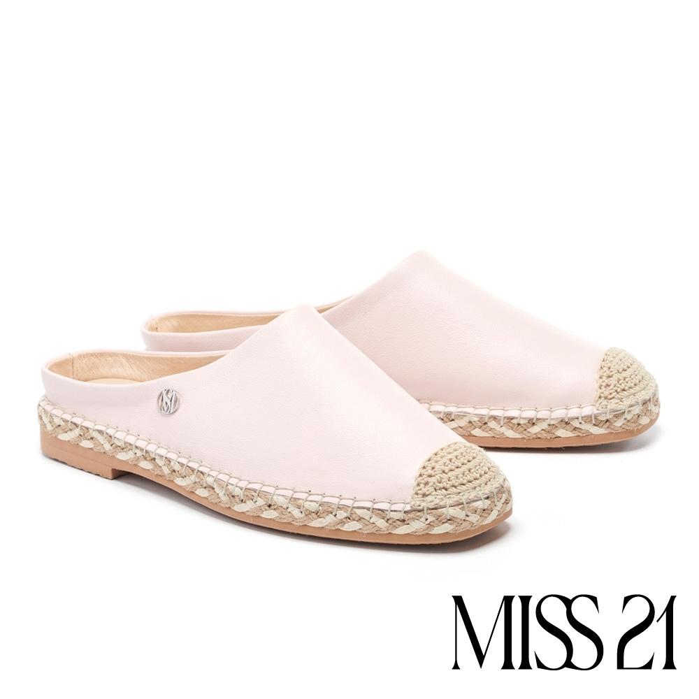 拖鞋 MISS 21 清新質感異材質拼接草編休閒拖鞋-粉