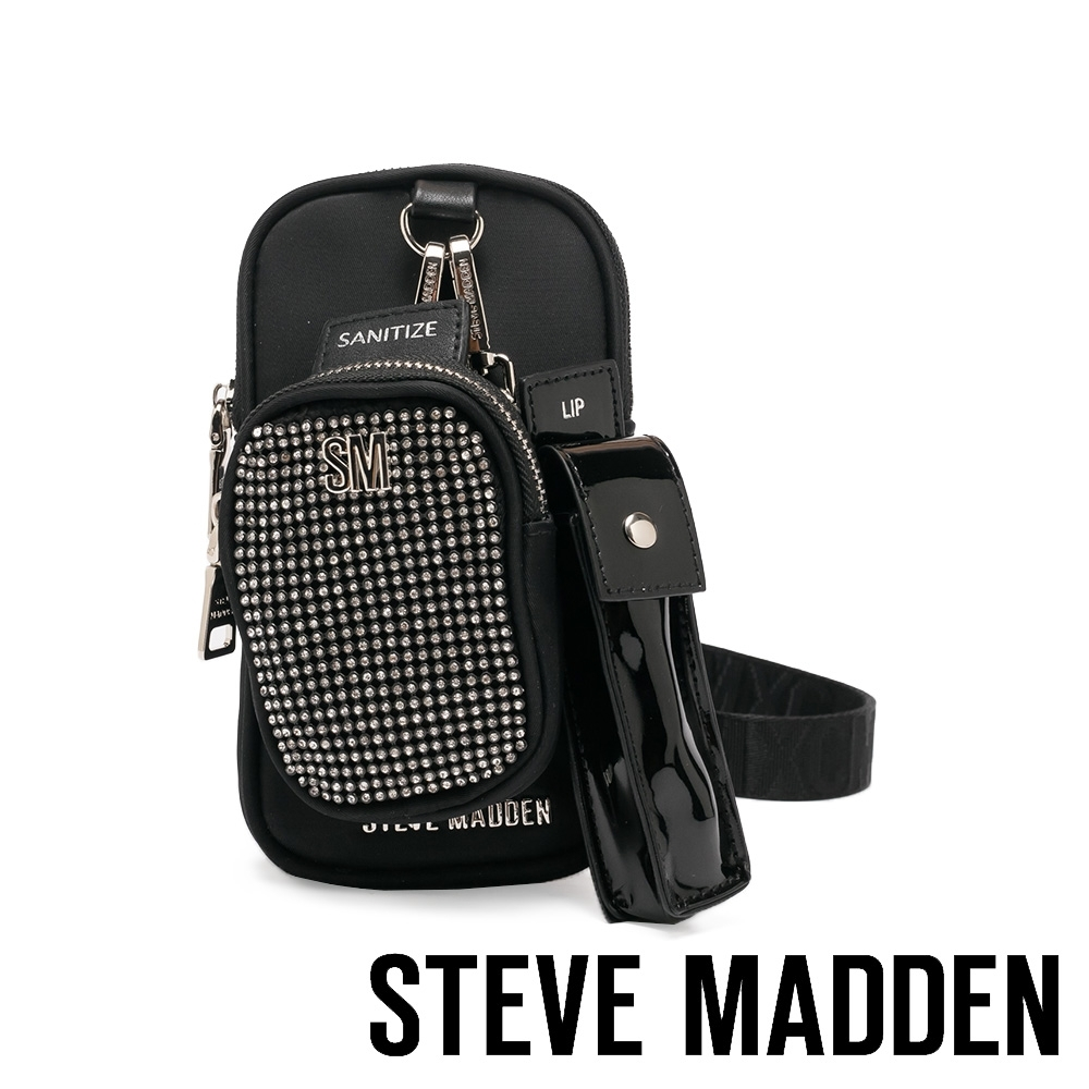 STEVE MADDEN-BSETITUP 時尚潮流個性斜背三合一包-水鑽黑