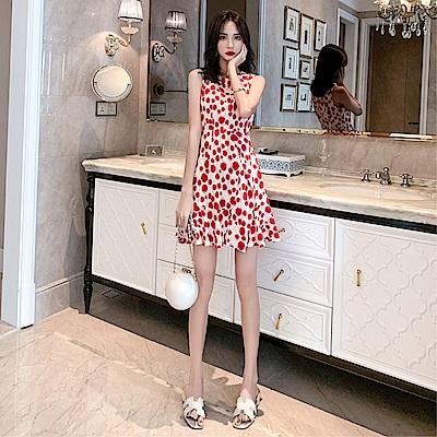 DABI 韓系時尚圓領收腰圓點印花背心裙無袖洋裝