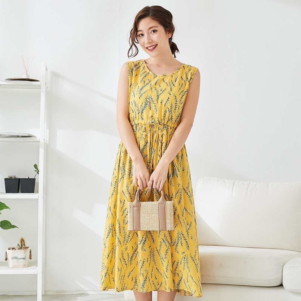 KatieQ 印花束腰背心洋裝- 黃色