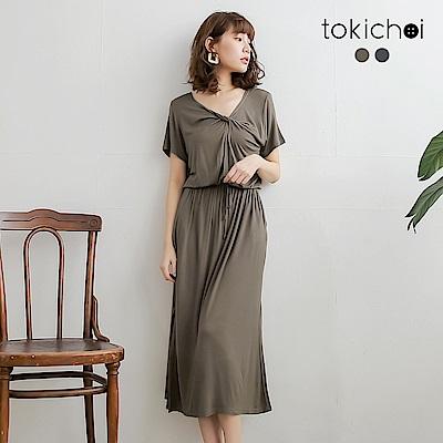 東京著衣 休閒性感V領抓皺開叉綁帶洋裝-S.M.L(共兩色)