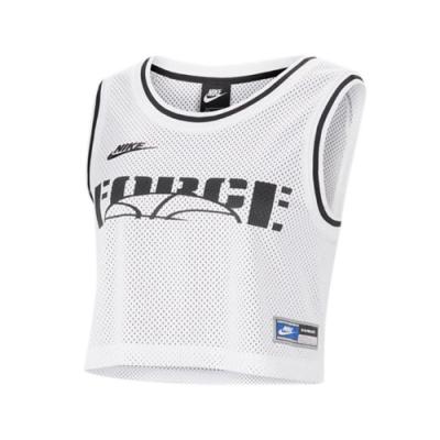 Nike 球衣 NSW Cropped Jersey 女款 運動休閒 籃球 短版 穿搭 露肚裝 白 黑 CU6786100