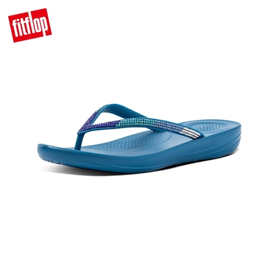 【FitFlop】IQUSHION OMBRE SPARKLE FLIP-FLOPS 漸層水鑽人體工學戲水夾腳拖-女(海藍色)