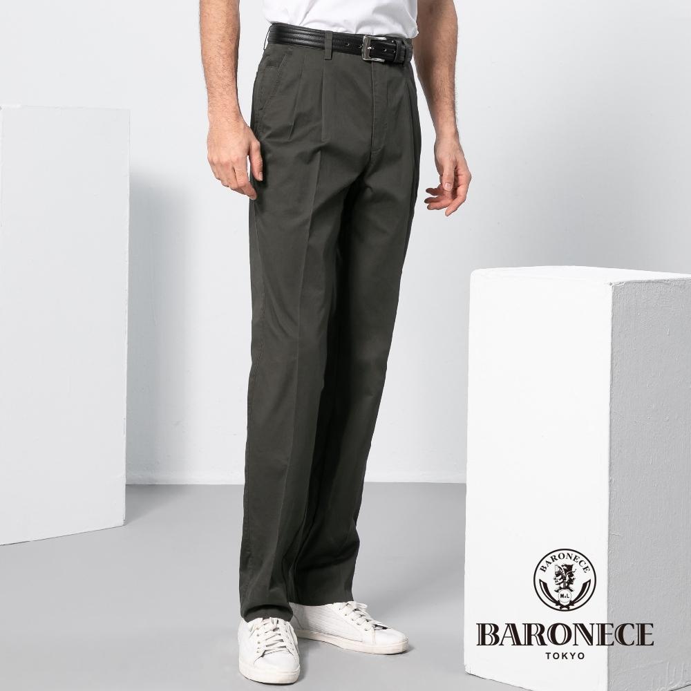 BARONECE 百諾禮士休閒商務  男裝 彈性平紋雙褶休閒褲-褐綠色(1198898-48)