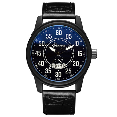 Watch-123 遠征探險經典美式日曆皮革手錶 (2色任選)