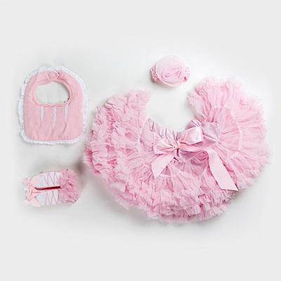 日安朵朵女嬰童蓬蓬裙禮盒組粉嫩小公主睡美人裙圍兜寶寶襪