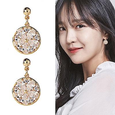 梨花HaNA 無耳洞韓國水晶鏤空環飾圓形耳環耳夾