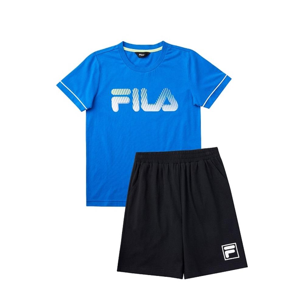 FILA KIDS 童短袖針織套裝-藍 1WTV-4904-BU