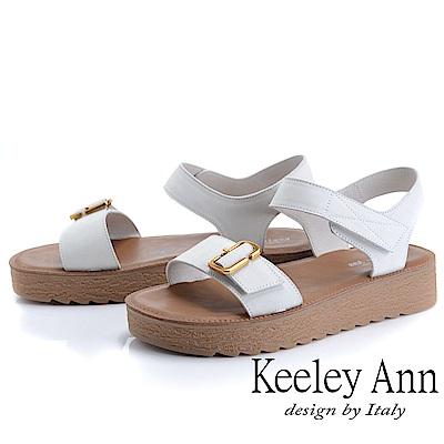 Keeley Ann簡約一字帶 寬帶厚底魔鬼氈涼鞋(米白色)