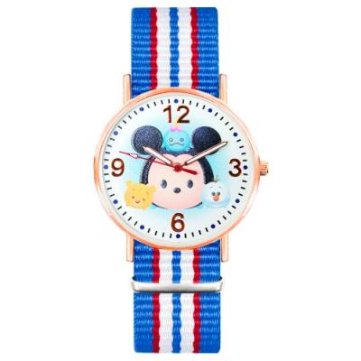 DISNEY迪士尼玫瑰金經典織帶系列手錶-TsumTsum 米奇 / 米妮 40mm