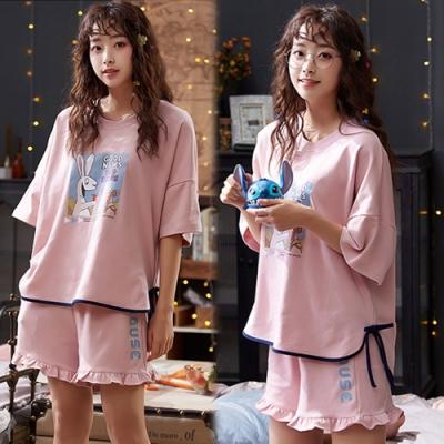 【韓國K.W.】(預購)微醺傾心荷葉邊塗鴉套裝褲-1色