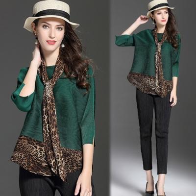 【KEITH-WILL】(預購) 豹紋絲質典雅壓褶上衣-3色