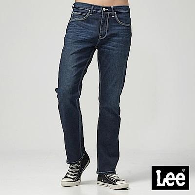 Lee 中腰舒適直筒牛仔褲-深藍色洗水