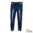 彈力刷破鬆緊腰牛仔褲 TATA