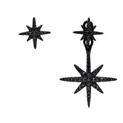 apm MONACO法國精品珠寶 閃耀晶鑽雙繁星不對稱黑色耳環