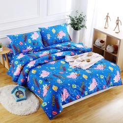 Peppa Pig  太空喬治  單人3M吸濕排汗專利技術親膚舒柔床包枕套兩件組