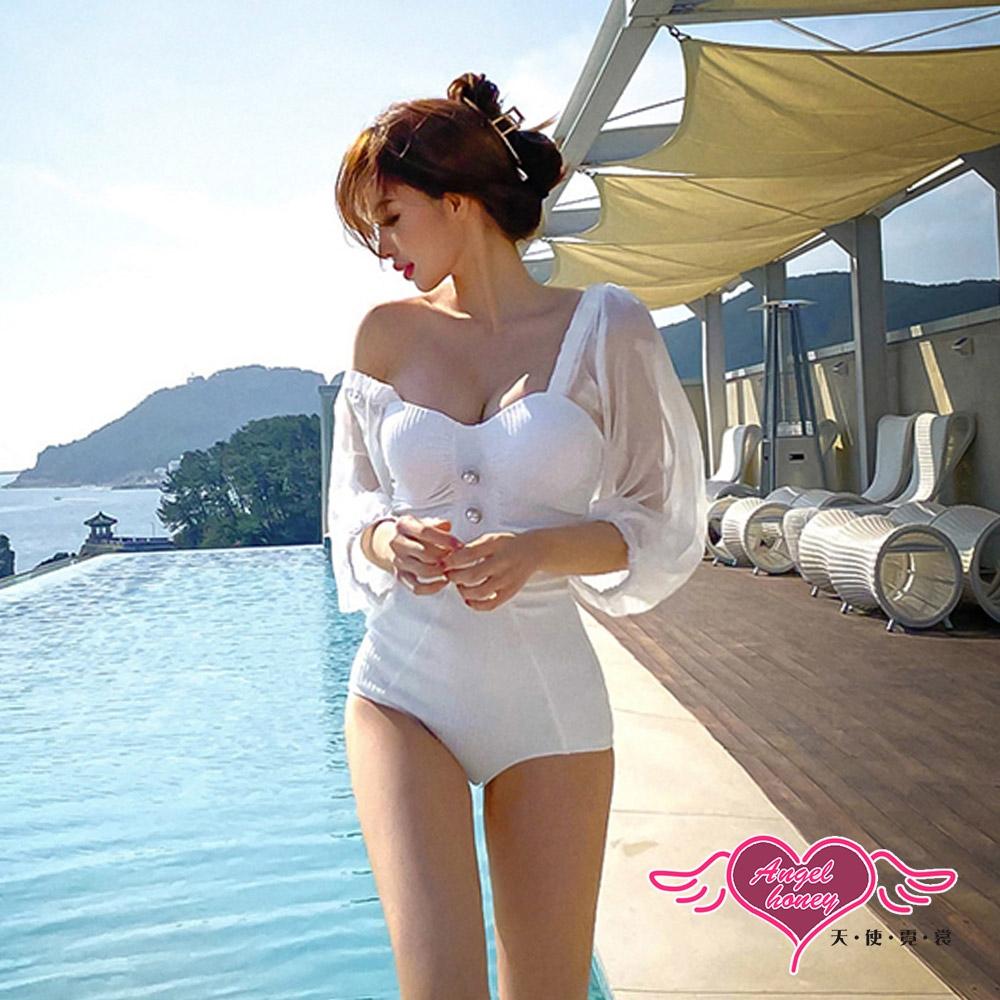 連身泳裝 華麗時尚 韓系風格 一件式泳衣 鋼圈  (白色M~XL號) AngelHoney天使霓裳