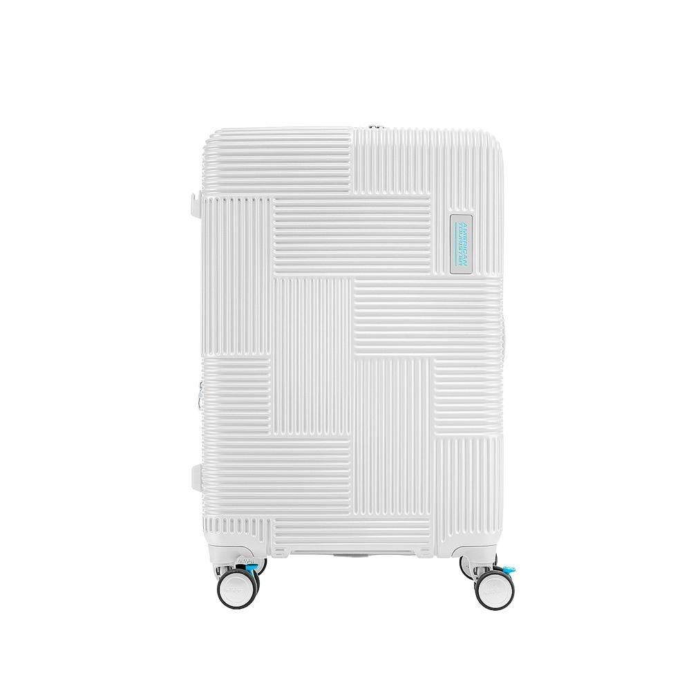 AT美國旅行者 30吋Velton 跳色幾何防盜拉鍊可擴充剎車輪行李箱(灰白色)
