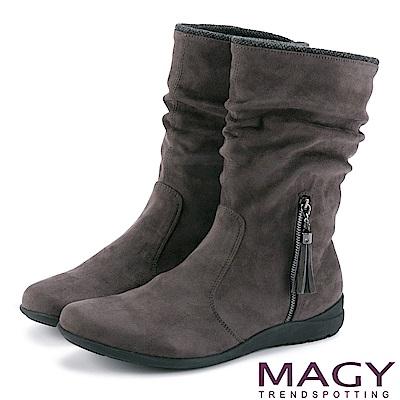 MAGY 暖冬時尚 2WAY抓皺絨布素面百搭中筒靴-灰色