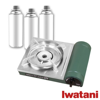 【Iwatani岩谷】綠卡高效防風型磁式卡式瓦斯爐-2.8kW-搭贈3入大容量瓦斯罐