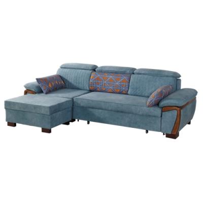 文創集 萊茲皮革L型沙發床組合(二向+拉合式機能設計)-287x162x88cm免組