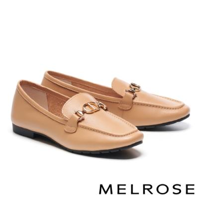 低跟鞋 MELROSE 質感時尚飾釦方頭樂福低跟鞋-杏
