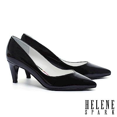 高跟鞋 HELENE SPARK 極簡百搭質感牛軟漆皮尖頭高跟鞋-黑