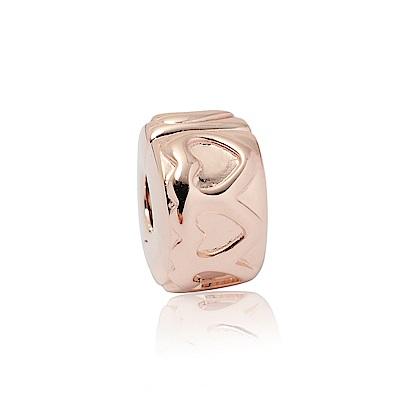 Pandora 潘朵拉 心連心玫瑰金 夾扣式純銀墜飾 串珠