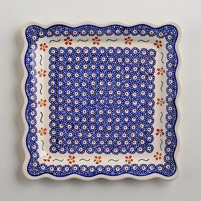 波蘭陶手工製 紅點藍花 方形餐盤24cm