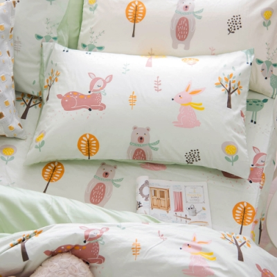 OLIVIA  小森林 綠 加大雙人床包美式枕套三件組 300織精梳純棉 台灣製
