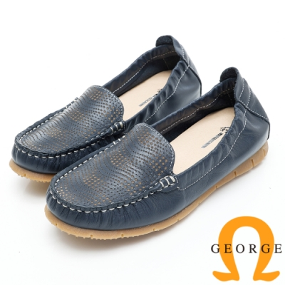 GEORGE 喬治皮鞋 透氣洞洞舒適平底休閒鞋--深藍色