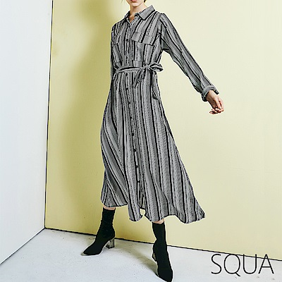 SQUA 直條紋排扣長洋裝 (附綁帶)