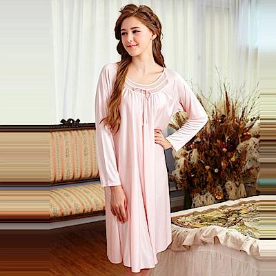 睡衣 彈性珍珠絲質 長袖連身睡衣(55203)粉色-台灣製造 蕾妮塔塔