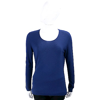 Andre Maurice 喀什米爾湛藍色圓領長袖羊毛衫 @ Y!購物